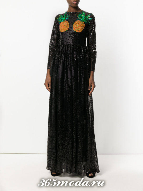выпускное длинное платье из пайеток с рисунком