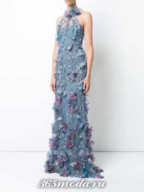 выпускное голубое платье с цветочным принтом