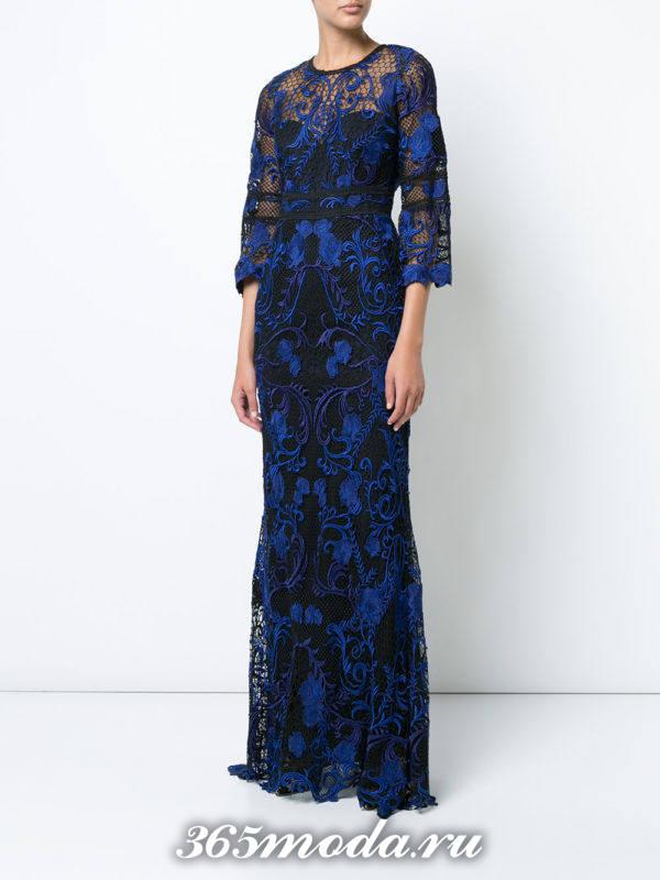 выпускное платье с рукавами с принтом