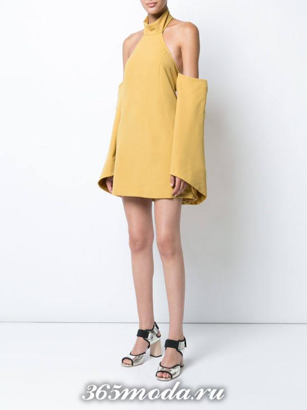 выпускное короткое желтое платье с рукавами