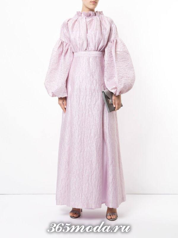выпускное фиолетовое платье с пышными рукавами