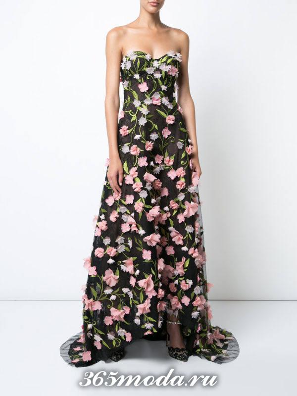 выпускное платье бюстье с принтом