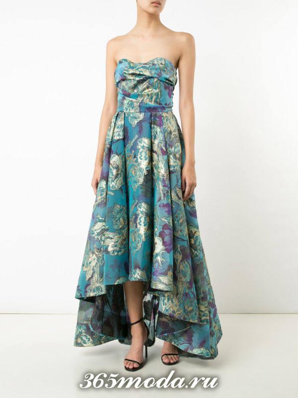 выпускное платье бюстье синее с принтом