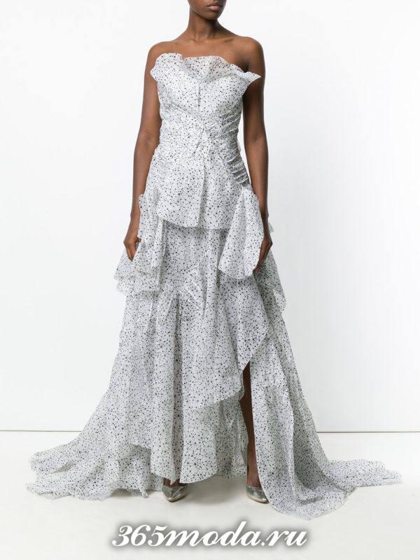 выпускное платье бюстье светлое многослойное