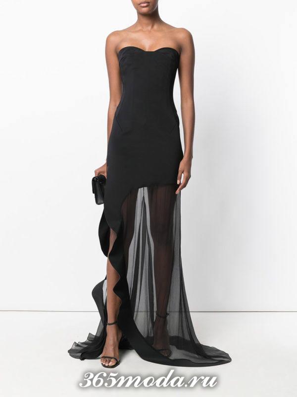 выпускное темное прозрачное платье бюстье