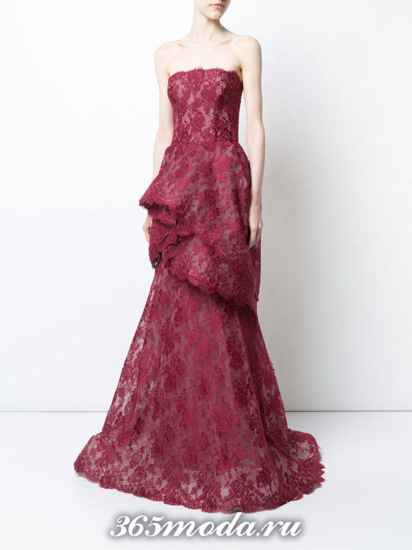 выпускное бордовое кружевное платье бюстье