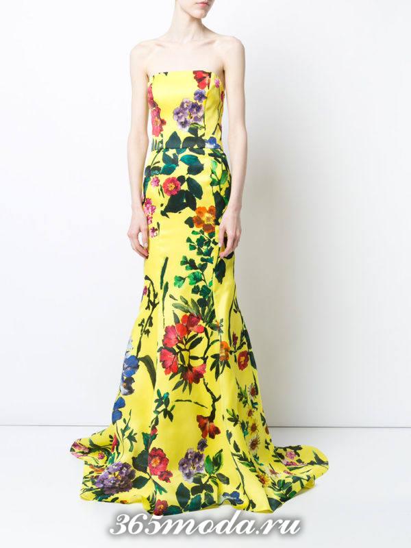 выпускное желтое платье бюстье с принтом