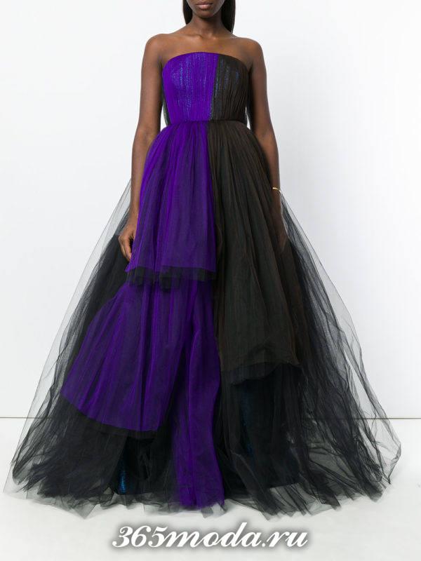 выпускное двухцветное пышное платье бюстье