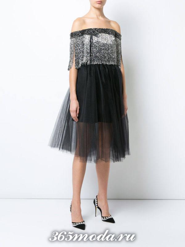 выпускное короткое черное пышное платье