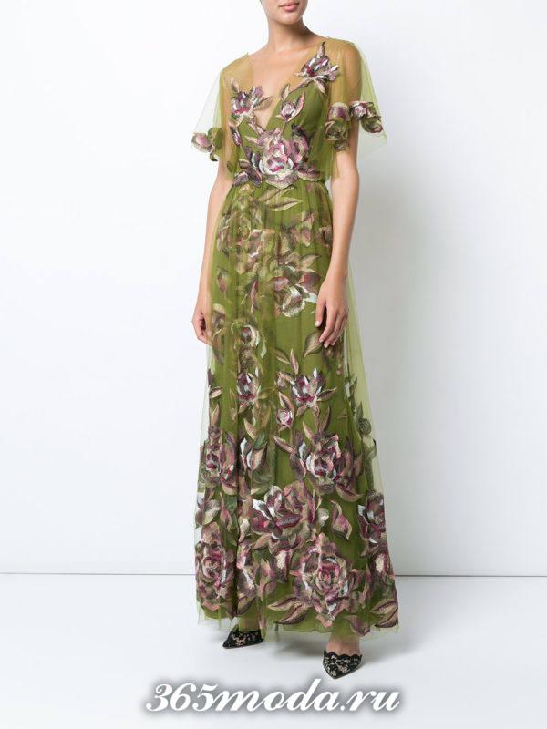 выпускное зеленое платье с цветочным принтом