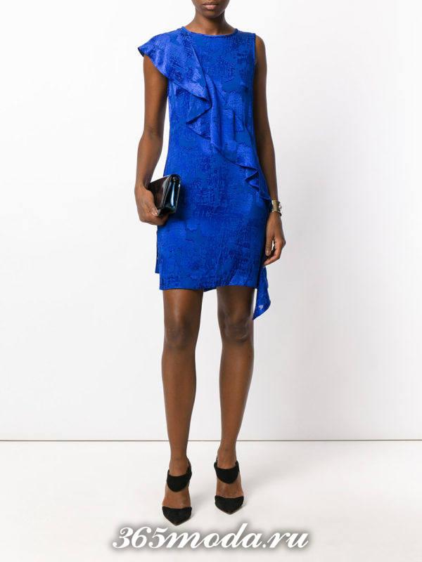 выпускное короткое синее платье