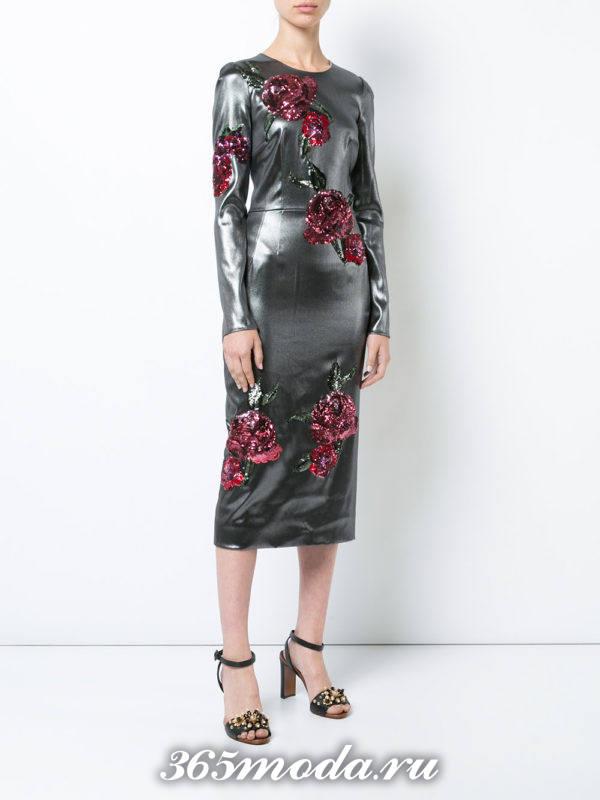 выпускное серебристое платье футляр с декором