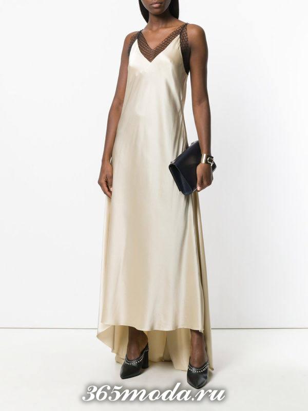 выпускное светлое шелковое платье