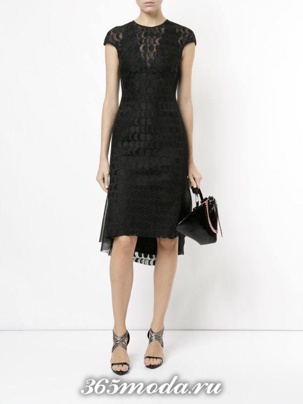 выпускное черное платье миди