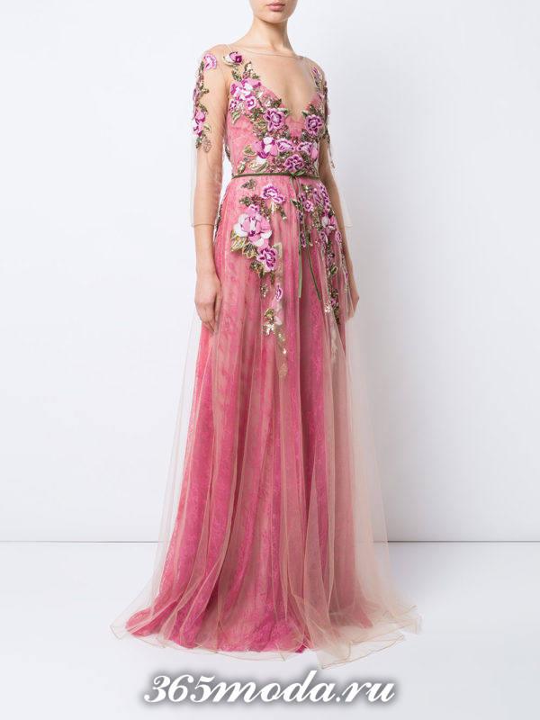 выпускное розовое платье с цветочным принтом