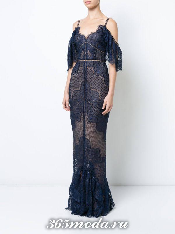 выпускное синее кружевное платье годе
