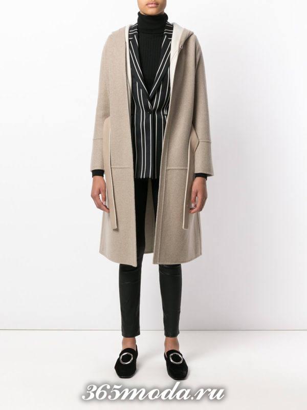 вязаное светлое пальто осень-зима