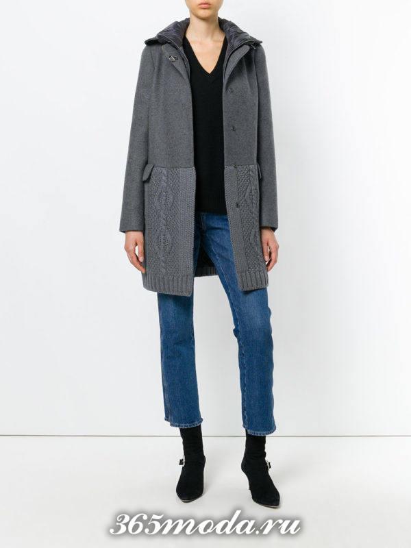 пальто с вязаным низом серое осень-зима