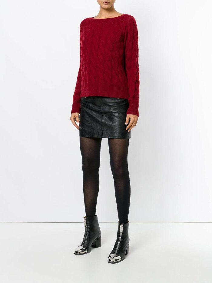 вязаный красный свитер осень-зима