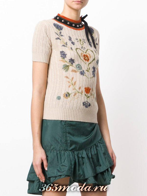 вязаный свитер с коротким рукавом осень-зима