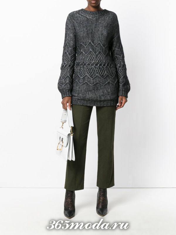 вязаный серый свитер осень-зима