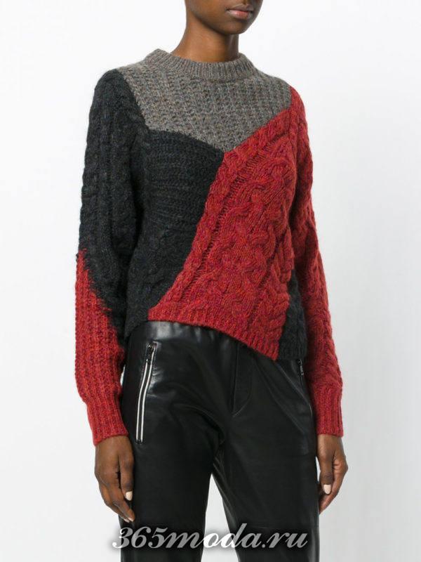 вязаный комбинированный свитер осень-зима