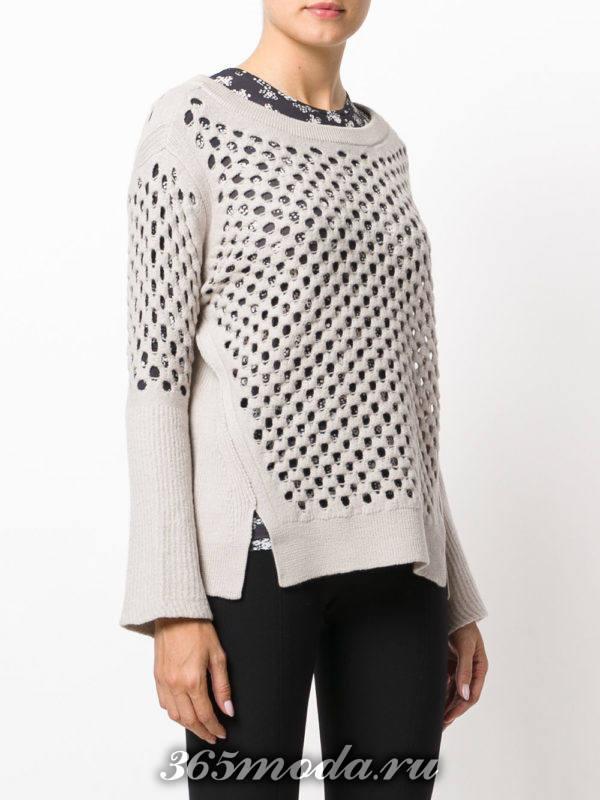 вязаный прозрачный свитер осень-зима