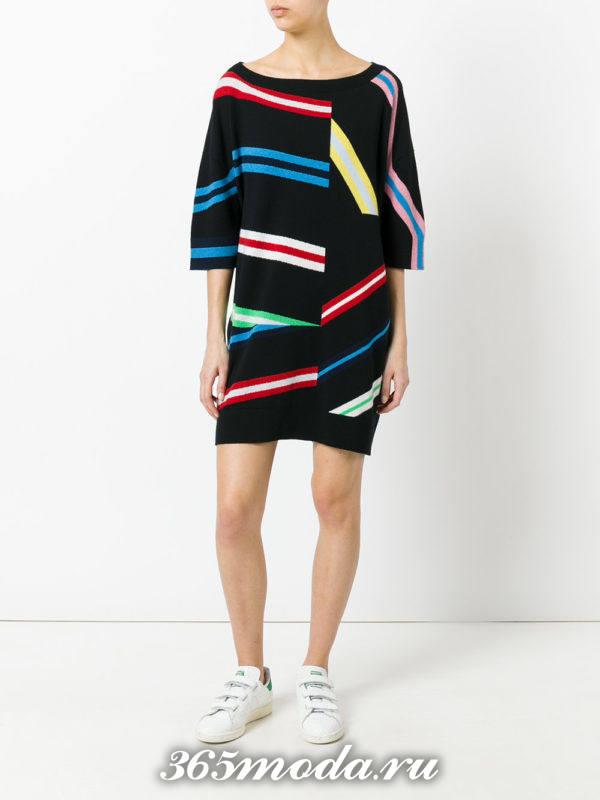 вязаное мини платье с принтом осень-зима