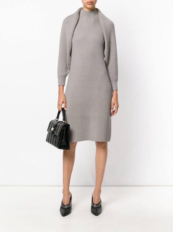 вязаное серое платье футляр осень-зима