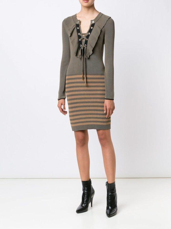 вязаное полосатое платье осень-зима