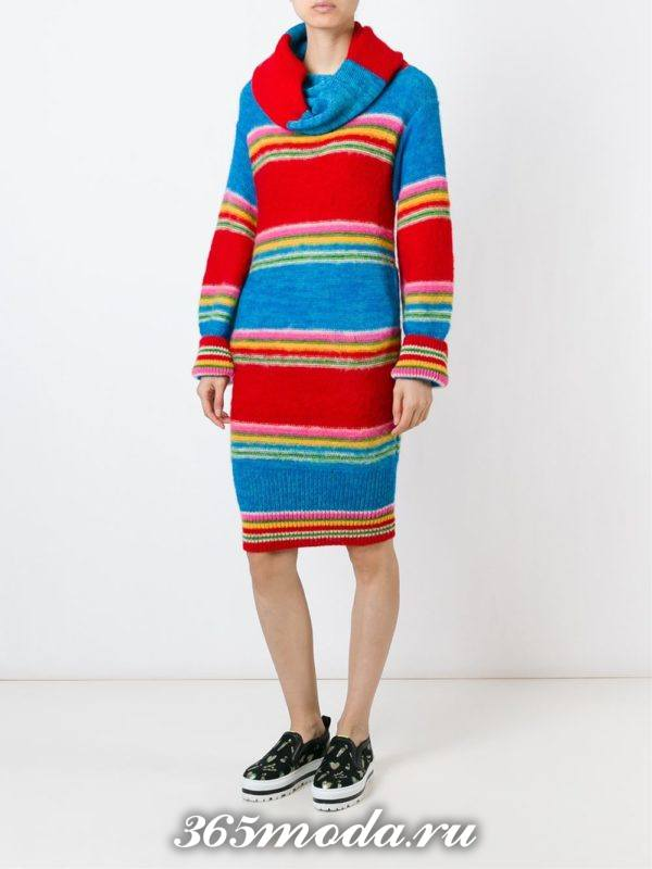 вязаное полосатое платье миди осень-зима