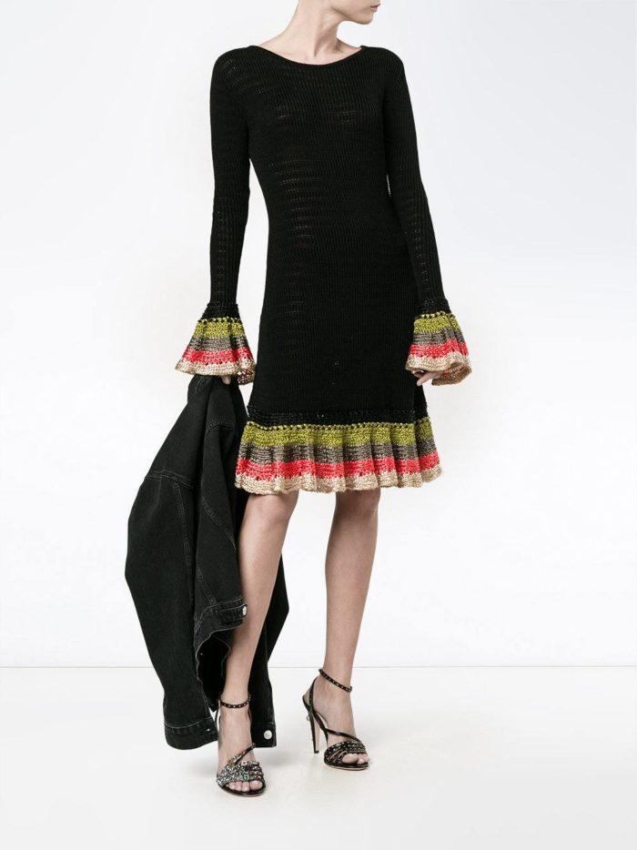 вязаное черное платье осень-зима