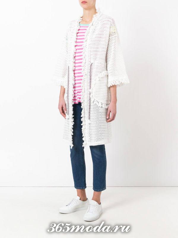 вязаное белое пальто осень-зима