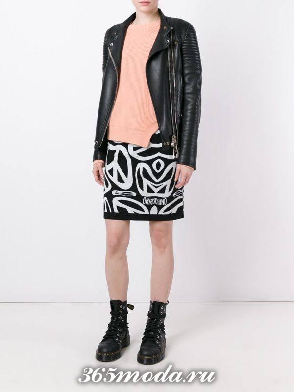 вязаная черная юбка с узором осень-зима