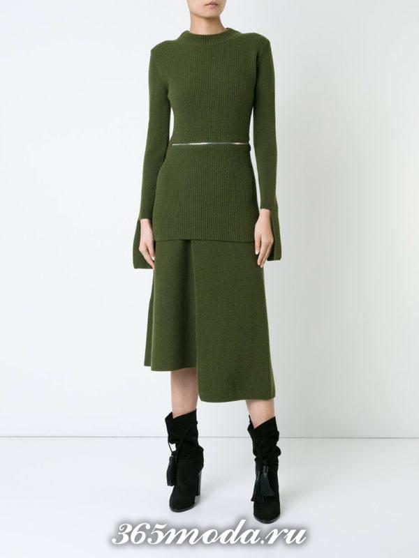 вязаная зеленая юбка осень-зима