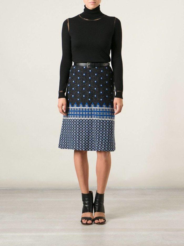 вязаная юбка с принтом осень-зима