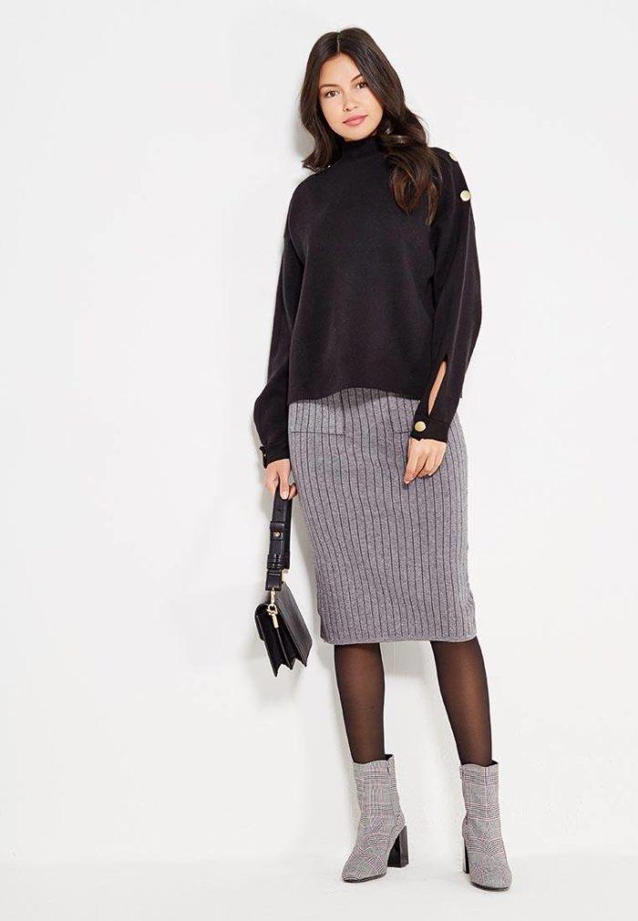 вязаная серая юбка карандаш осень-зима