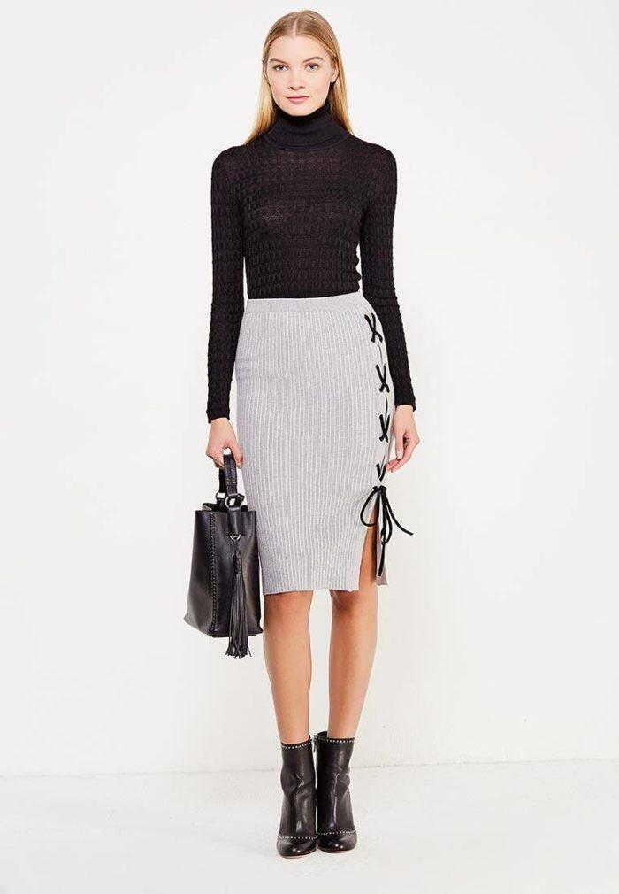 вязаная белая юбка с декором осень-зима