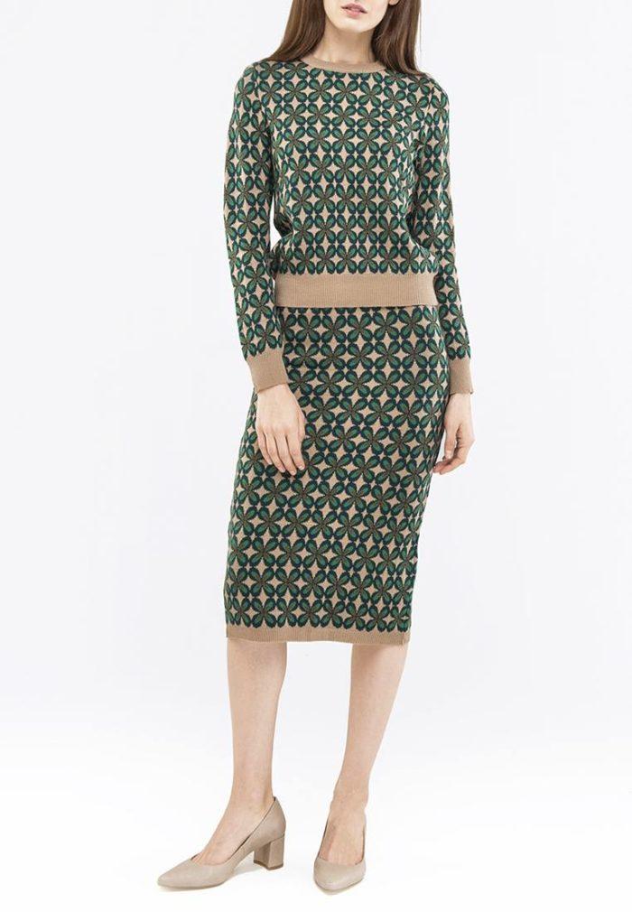 вязаная зеленая юбка с принтом осень-зима