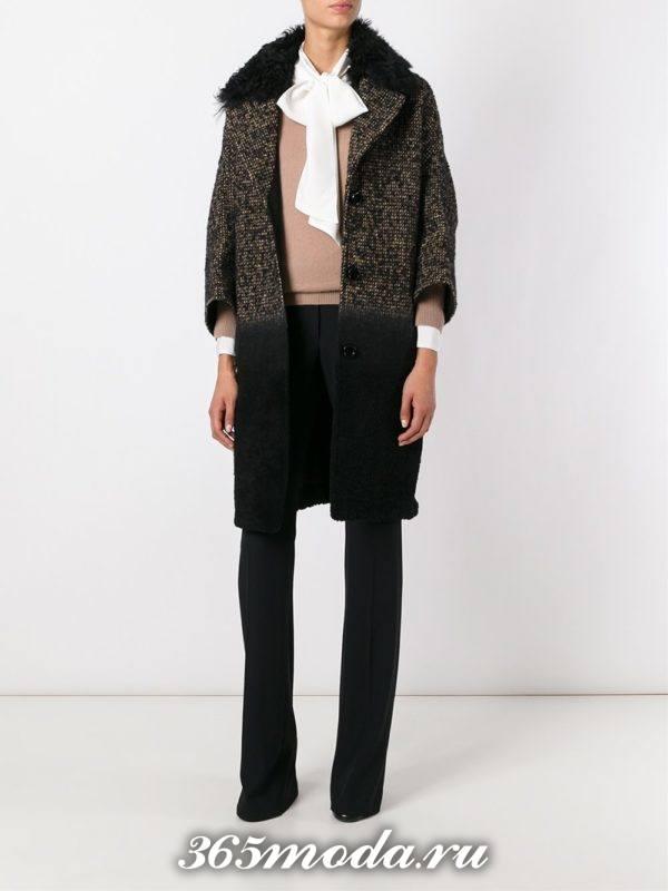 вязаное пальто омбре с мехом осень-зима