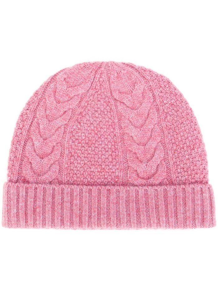 вязаная розовая шапка осень-зима
