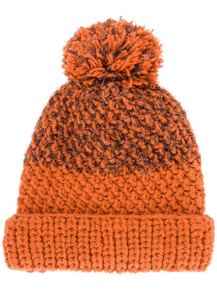 вязаная цветная шапка с помпоном осень-зима
