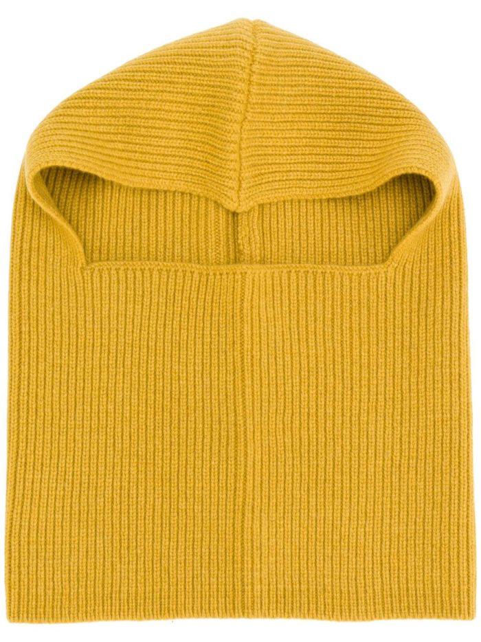 вязаная желтая шапка осень-зима