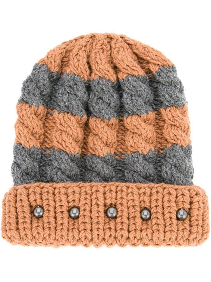 вязаная полосатая шапка с бусинами осень-зима
