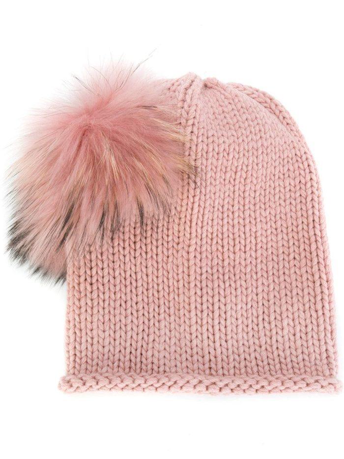 вязаная розовая шапка с мехом осень-зима