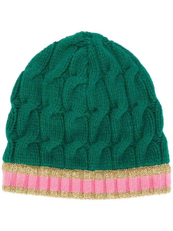 вязаная зеленая шапка бинни осень-зима