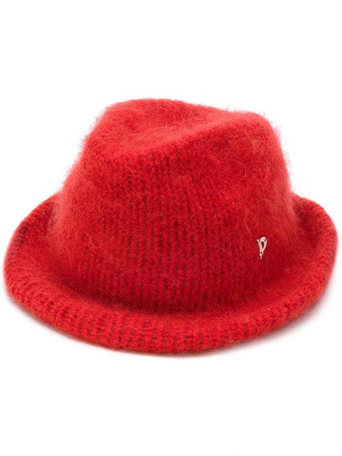 вязаная красная шляпка осень-зима