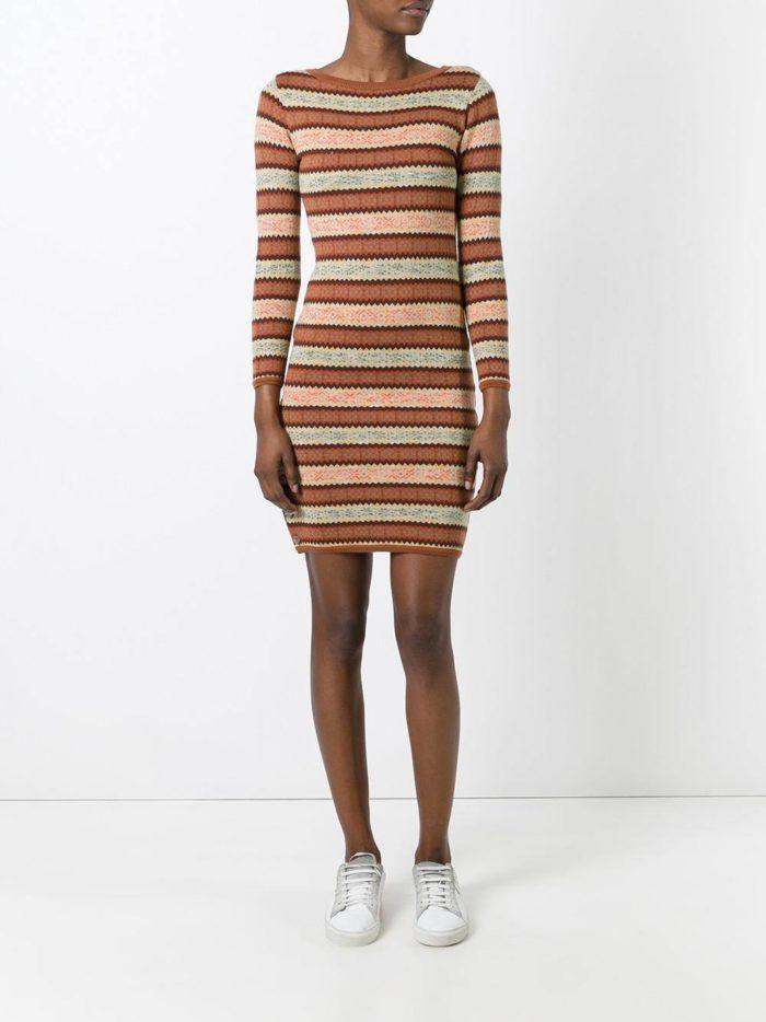 модное вязаное полосатое мини платье осень-зима