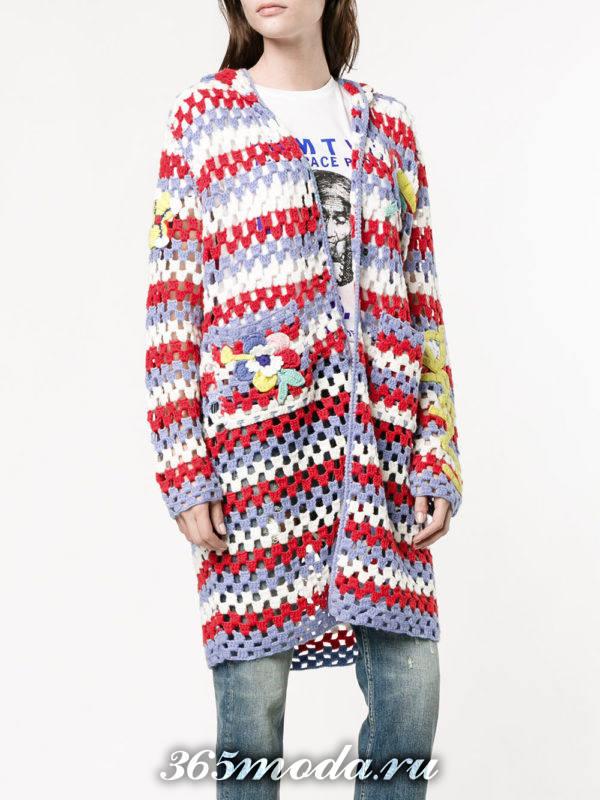 модный вязаный полосатый кардиган осень-зима