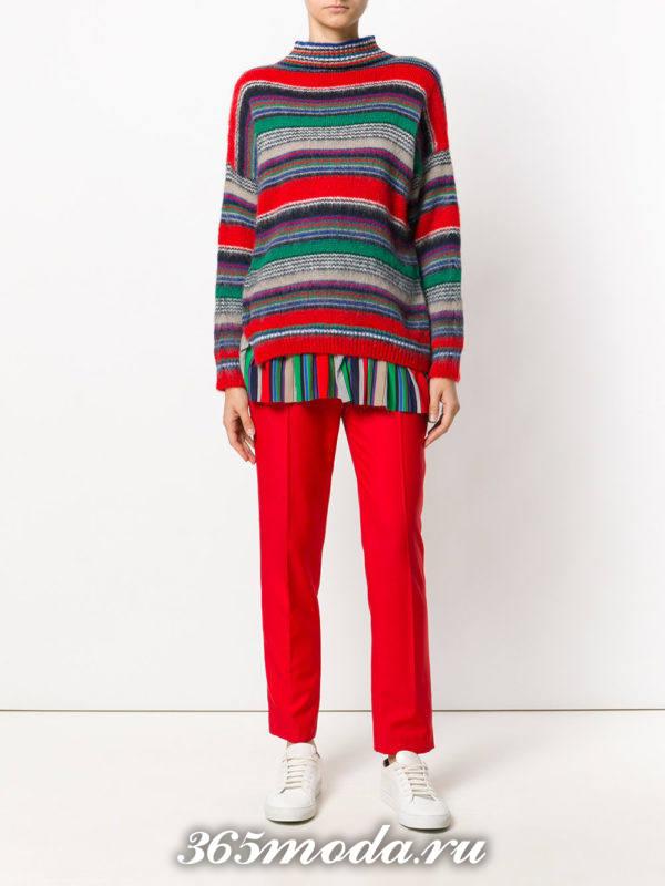 модный вязаный многослойный свитер осень-зима